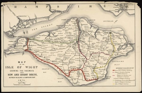A Map of the Isle of Wight, showing the internal railway system and the 'new & short route' between the island and the Hampshire coast