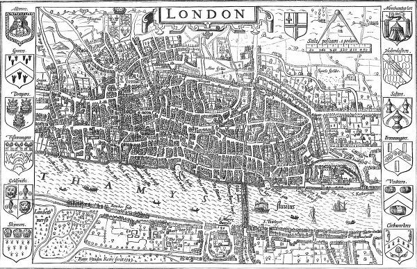 Map, made by Pieter Vanden Keere, showing the extent of London in 1593. Around the edge of the map are the crests of twelve of the Merchant Guilds. The ones shown are: Mercers, Grocers, Drapers, Fishmongers, Goldsmiths, Skinners, Merchant Taylors
