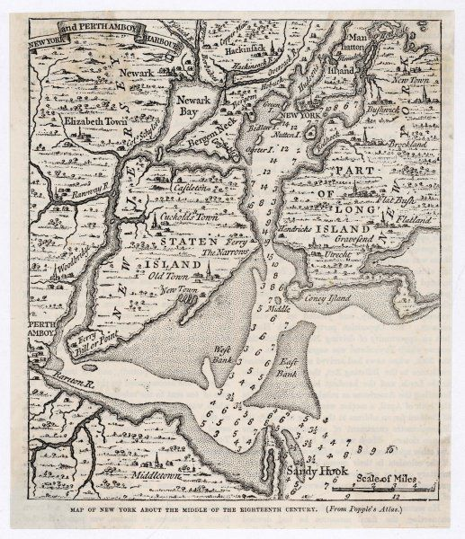 A map of New York from the middle of the eighteenth century