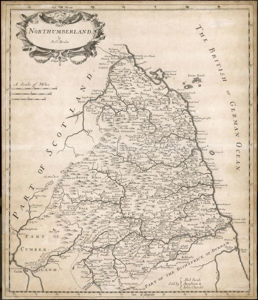 Map of the English county of Northumberland by Robert Morden, originally produced for the 1695 edition of 'Camden's Britannia&#39
