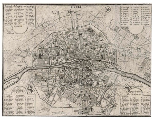 Detailed map of Paris, showing the many churches