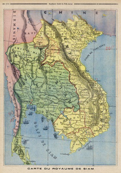 Map showing the Kingdom of Siam, now Thailand