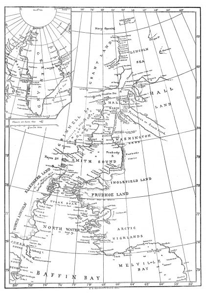 Engraving showing a map of Smith Sound and Greenland, as it was known in May 1875