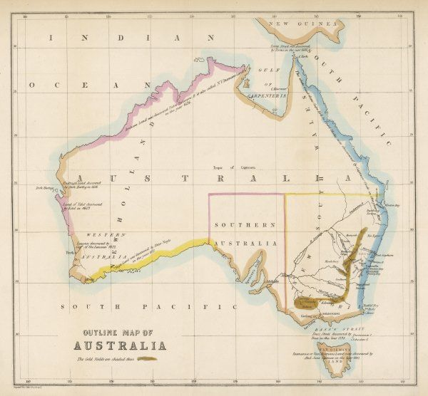Map showing the location of the GOLDFIELDS, so presumably made fairly soon after the start of the Australian Gold Rush in 1851