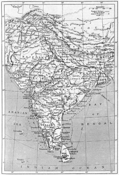 Map of India Date: 1908