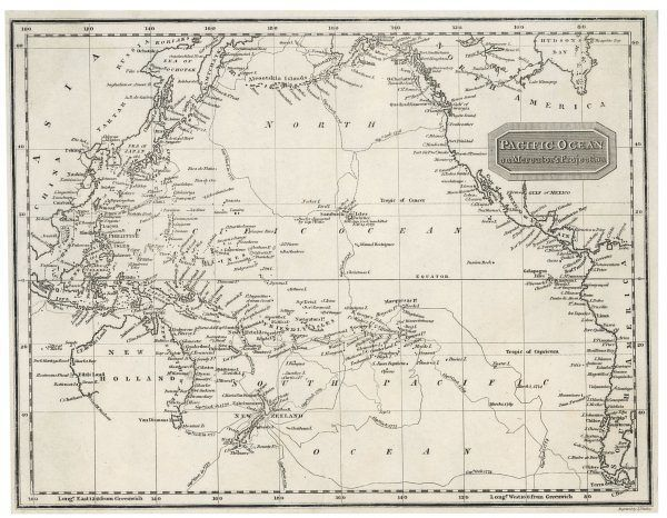 Map of the Pacific Ocean on Mercator's projection