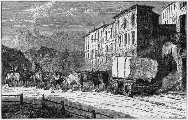 Twelve oxen are needed to drag this piece of marble from the quarries at Carrara, Italy