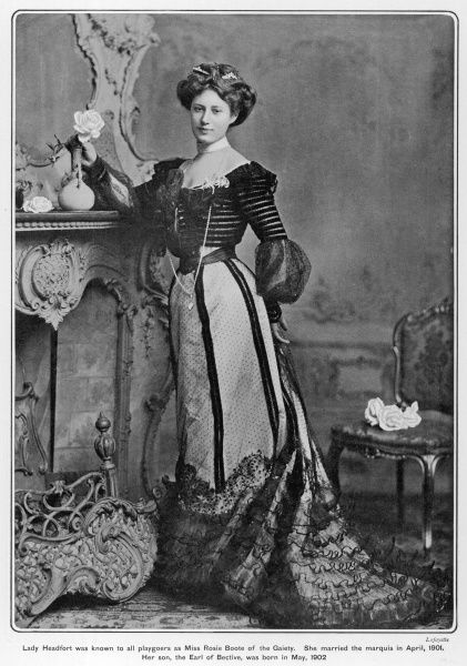 Photographic portrait of the the Marchioness of Headfort, formerly known to playgoers as Miss Rose Boote of the Gaiety Theatre, London. She married the Marquess in April 1901, and her son became the Earl of Bective