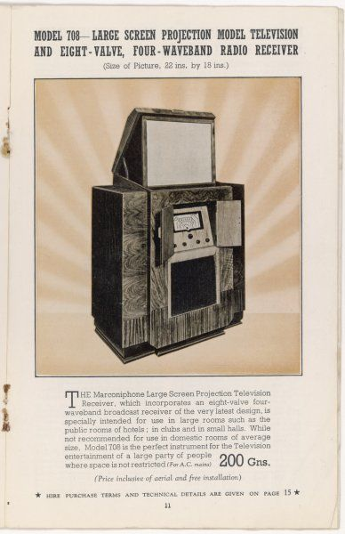"Marconi's Large Screen Projection Model has so big a picture (22""x18"" - 60x50cm) that 'it is not recommended for use in domestic rooms of average size.&#39"