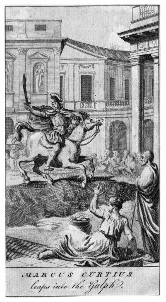 A Roman hero who, in obedience to a divine instruction, rode with his horse into a chasm in the Forum at Rome, thereby saving the city. The story is almost certainly pure legend