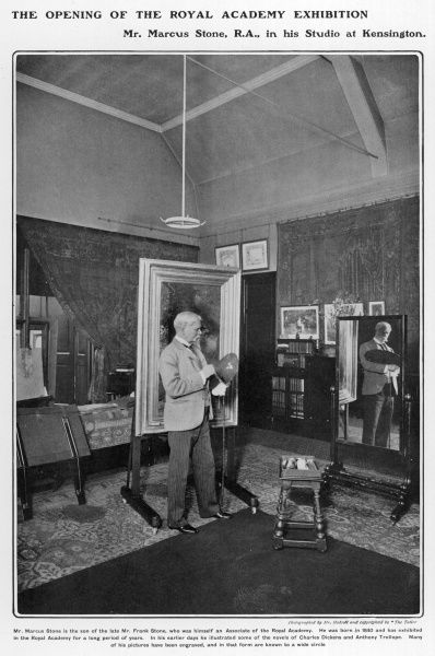 Marcus Stone, R.A. (1840 - 1921), artist and painter, pictured at work in his studio in Kensington, London