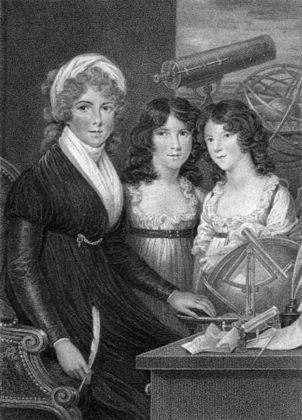 MARGARET BRYAN Author of books on mathematics and astronomy, depicted with her two daughters. She lived at Blackheath, Kent. Date: flourished 1790 - 1815