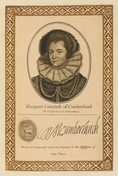 MARGARET countess of CUMBERLAND, wife of George Clifford, earl, who spent his time fighting the Spaniards so they had only one child. with her autograph