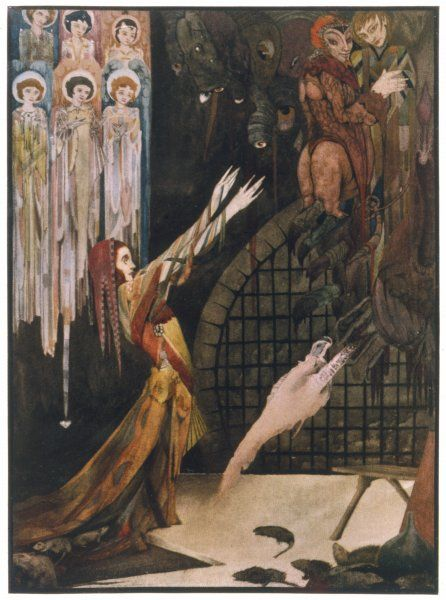 Margarete, in prison, repents her lapse - she is now pregnant with Faust's child - and the angels take pity on her