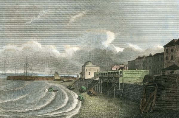 Margate, Kent: a rather cold-looking beach, with a few bathing huts Date: 1812
