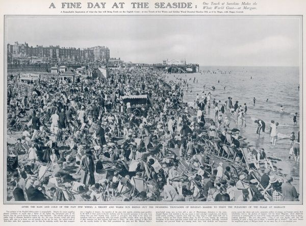 Thousands of holiday makers enjoy the pleasures of the beach at Margate during warm and sunny weather at the end of August, 1927