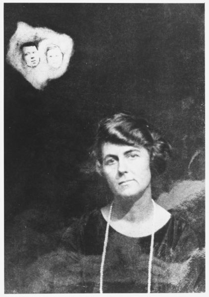 Spirit photo of controversial American medium 'Margery', with alleged spirit faces. 'Few today would attempt a defence of Margery' - writes investigator J Gordon Melton