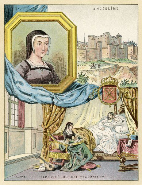 MARGUERITE DE VALOIS brother of Francois I, whose captivity by Carl V she tried in vain to alleviate : spurned by her relatives, she found solace writing tales and poems