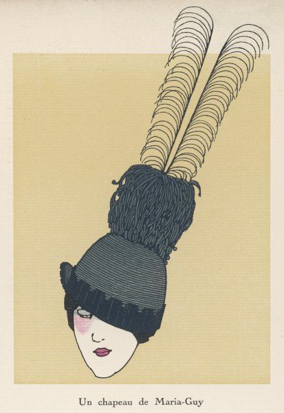 A hat by Maria-Guy with a very long feather, worn at an angle Date: 1913