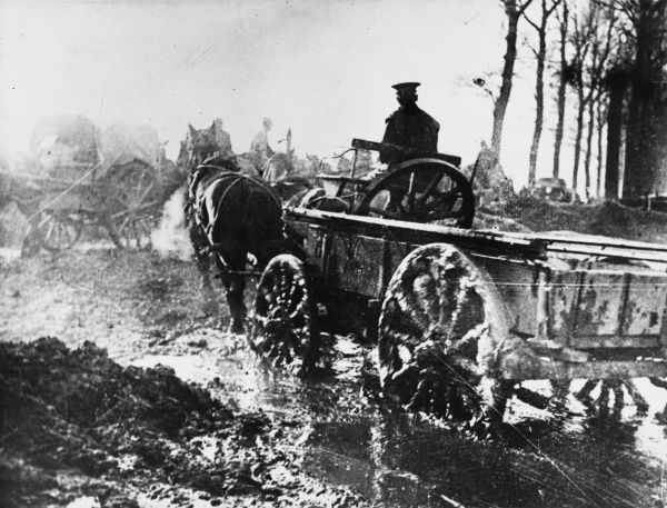 British transport wagons getting bogged down in the mud in Maricourt, during the Battle of the Somme