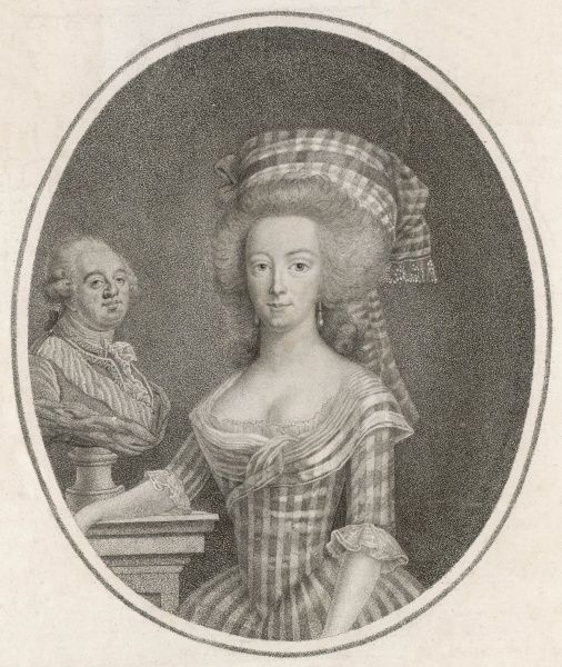 MARIE ANTOINETTE with a bust of her husband