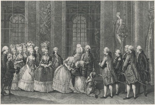 MARIE ANTOINETTE receives her children - Le Dauphin, Madame Royale and le duc de Normandie