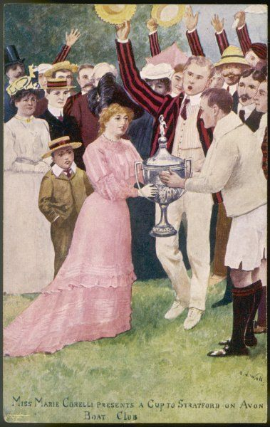 MARIE CORELLI English novelist presenting the winners' cup to the Stratford-on-Avon Boat Club