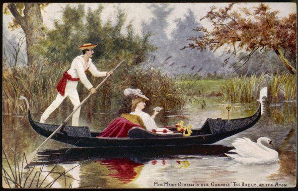 MARIE CORELLI English novelist in her gondola 'The Dream' on the River Avon