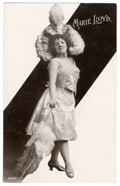 MARIE LLOYD Music hall entertainer wearing a large feathered hat