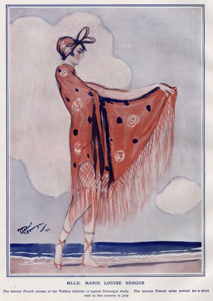 The French actress, Marie Louise Berger (renowned in the Theatre Athenie), in this illustration by Domergue. She is sporting an elegant red shawl with frills with ladybird dots. The beach is the perfect backdrop for this example of 1920s beachwear