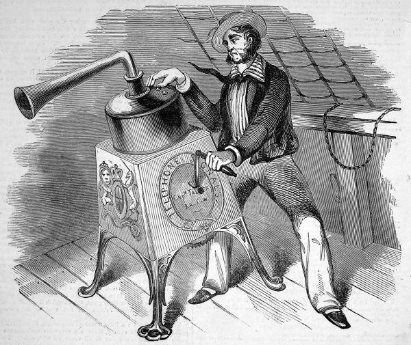 A telephone or 'marine alarum' being used by a sailor. This worked on the principle of sending air through a series of valves and pistons to make various notes, which were then translated into messages. The idea was to prevent collisions at sea