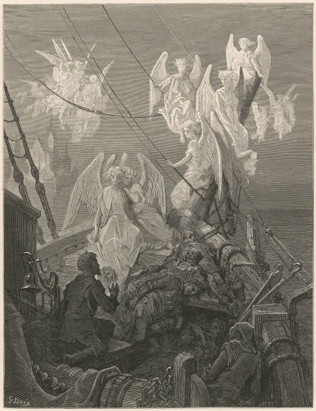 The angelic spirits leave the dead bodies of the sailors: 'This seraph-band, each waved his hand: It was a heavenly sight!&#39