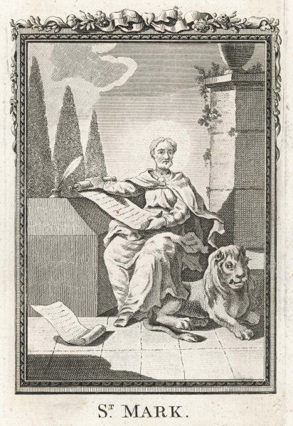 SAINT MARK THE EVANGELIST writes his Gospel, with his tame lion at his feet