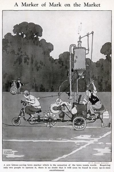 A new labour saving lawn marker which is the sensation of the lawn tennis world. Requiring only two people to operate it, there is no doubt that it will soon be found in every up to date establishment. Illustration by William Heath Robinson