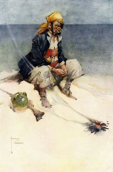 A rather peeved pirate or buccaneer sits alone on a desert island, apparently abandoned by his shipmates. Date: 1911