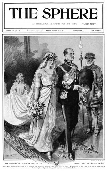 ARTHUR PRINCE OF CONNAUGHT Marrying his second cousin, Alexandra, Duchess of Fife, granddaughter of Edward VII. The wedding couple are accompanied by a yeoman. 1883 - 1938