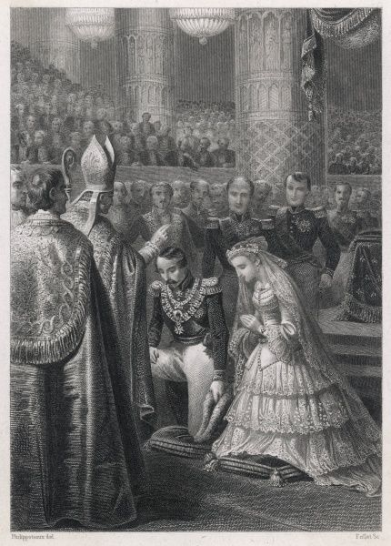Emperor Napoleon III (1808-1873) neels with Empress Eugenie(1826-1920) for a blessing during their marriage ceremony in Paris