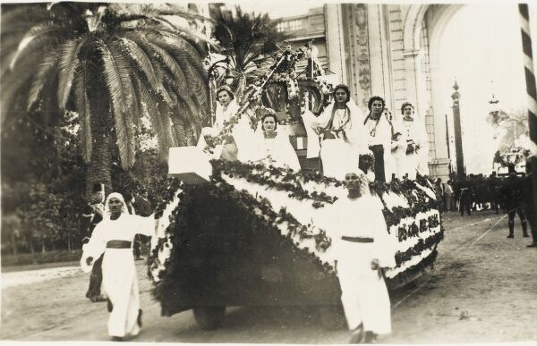 Part of the ceremonial procession to mark the marriage of Farouk I of Egypt (1920 - 1965) and Safinaz Zulficar (1921 - 1988), a pasha's daughter (who was renamed Farida upon her marriage) in 1938