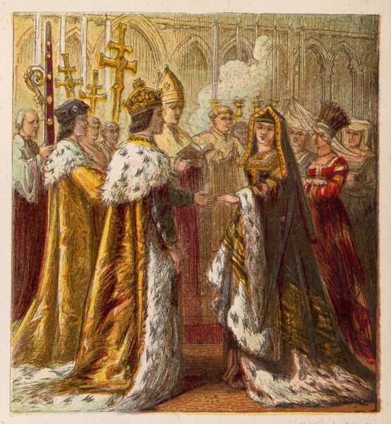The wedding ceremony of Henry VII and Elizabeth of York united the Houses of York and Lancaster