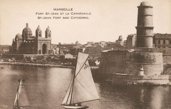 Marseille, France - Fort St Jean and the Cathedral Date: circa 1920