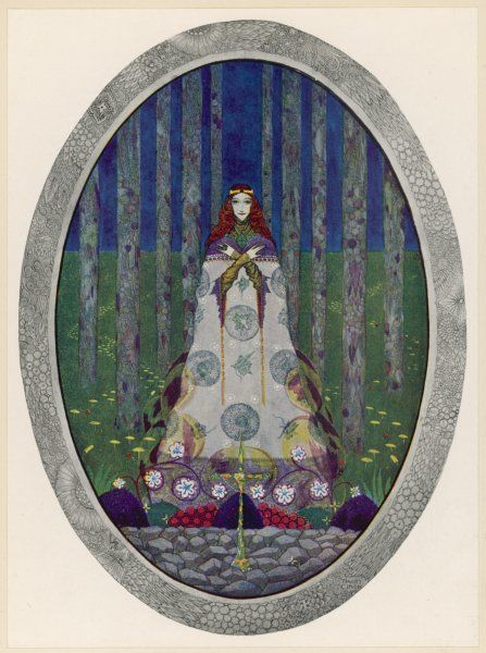 Illustration of the Marsh King's daughter in an oval frame