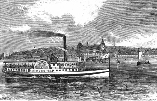 Paddle steamer serving the islands of the New England coastline. Date: 1874