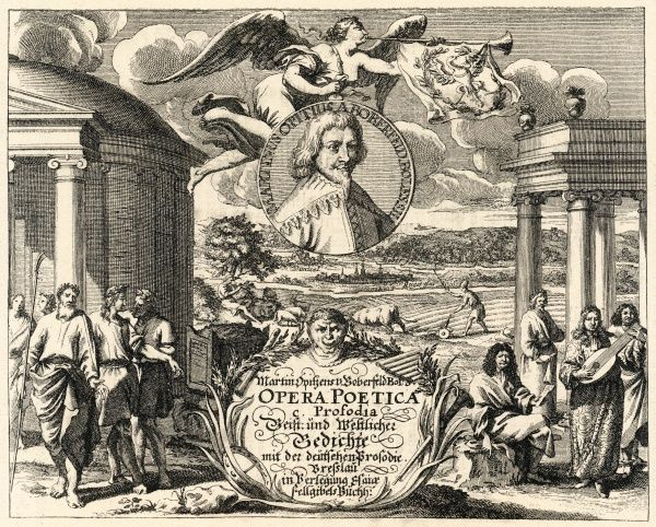 MARTIN OPITZ von Boberfeld German writer accompanied by friends and admirers on the title page of his poetical works