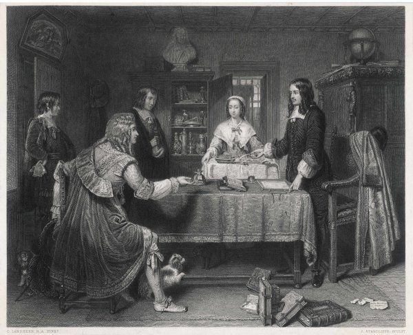 ANDREW MARVELL English poet and MP at home with his family, his dog and his books