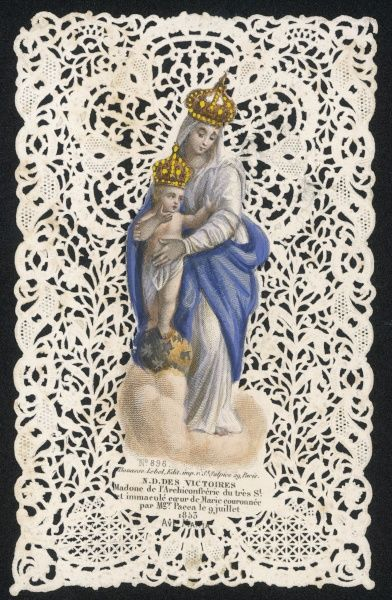 Mary depicted as Notre-Dame des Victoires, madonna of the Archeconfrerie of the extremely holy and immaculate heart of Mary, crowned by Monseigneur Pacca. And Jesus