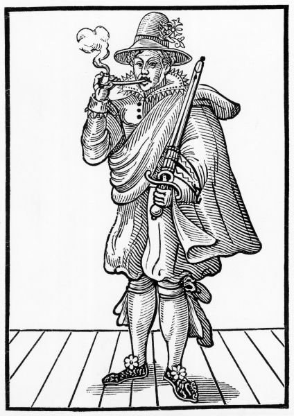 Mary Frith aka Moll Cutpurse, a notorious master thief & an Ugly who frequently dressed as a man; escaped from Newgate by bribery. Date: c.15841659