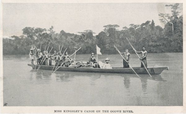 Mary Henrietta Kingsley, traveller and writer, in her canoe on the Ogooue (Ogowe) River in Gabon, West Central Africa, in 1896. She was the first woman to travel to Africa alone, though she distanced herself from the feminist movement