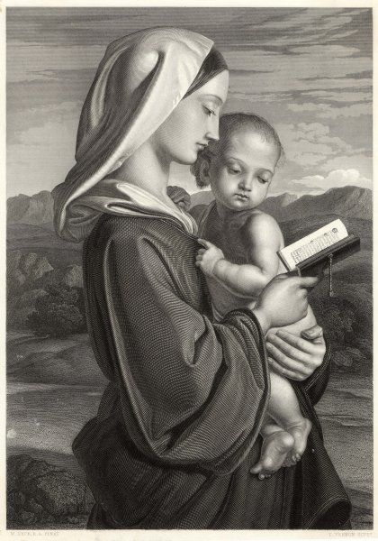 Mary reads a prayer book while Jesus watches