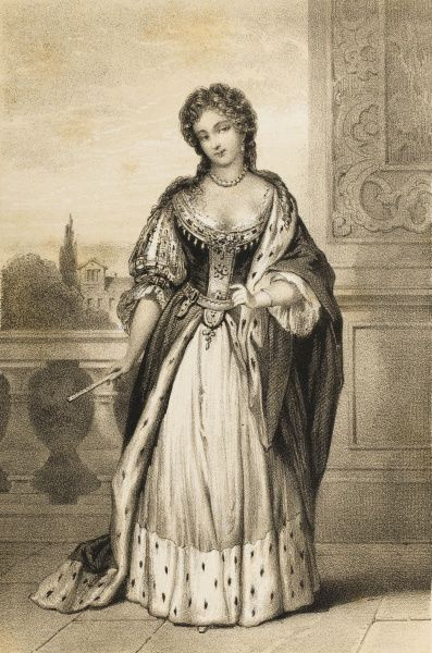 MARY OF MODENA Second wife of James II (married 1673), shown here in an outdoor setting