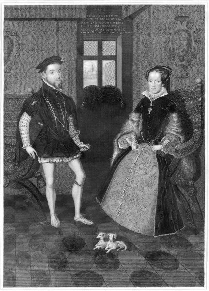 MARY TUDOR Catholic Queen of England, with her husband Philip II of Spain